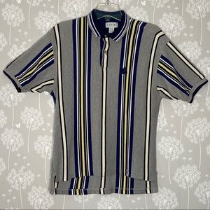 Izod Polo Shirt Size Medium Gray Blue Stripe